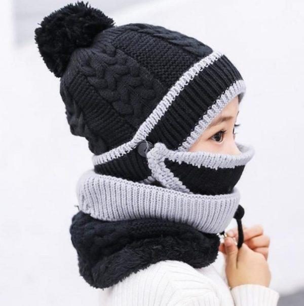 Caciulita Combo 3-in-1 pentru fetite (Caciula+Masca+Esarfa) - ShopGuru