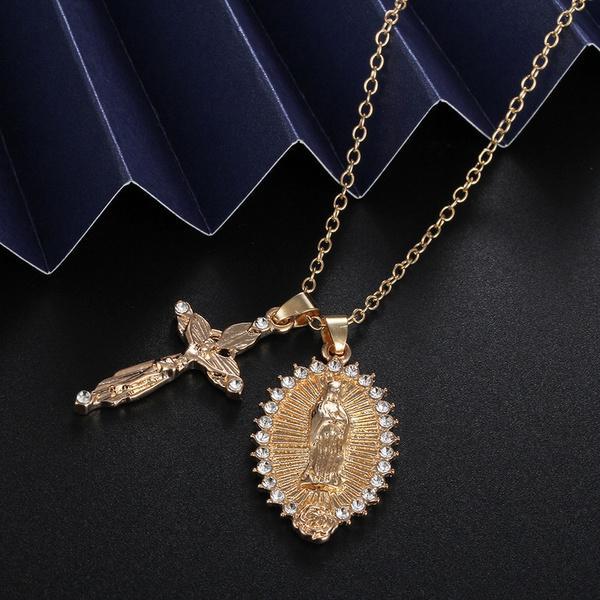 Colier Fecioara Maria + Cruciulita Iisus Hristos - ShopGuru