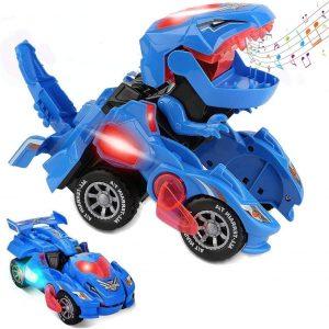 Dino™ Masinuta care se transforma in Dinozaur cu LED-uri (Albastru) - ShopGuru